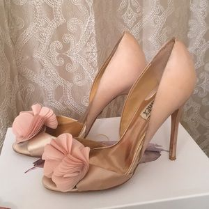 Badgley Mischka satin blush flower heels